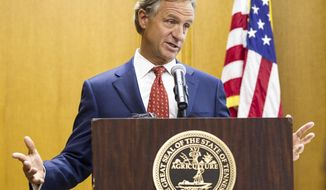 Republican Gov. Bill Haslam speaks to reporter about his budget priorities at the state Capitol in Nashville, Tenn., on Monday, Jan. 30, 2017. Haslam was scheduled to address a joint convention of the Tennessee General Assembly later in the day. (AP Photo/Erik Schelzig)