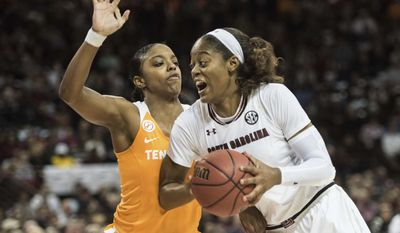 South Carolina guard Kaela Davis (3) drives to the hoop against Tennessee guard Diamond DeShields, left, during the first half of an NCAA college basketball game, Monday, Jan. 30, 2017, in Columbia, S.C. (AP Photo/Sean Rayford)