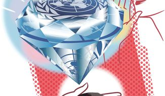 Illustration on the dream and reality of the U.N. by Linas Garsys/The Washington Times