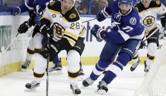 Boston Bruins center Dominic Moore (28) and Tampa Bay Lightning defenseman Victor Hedman (77), of Sweden, chase a loose puck behind the goal during the first period of an NHL hockey game Tuesday, Jan. 31, 2017, in Tampa, Fla. (AP Photo/Chris O'Meara)