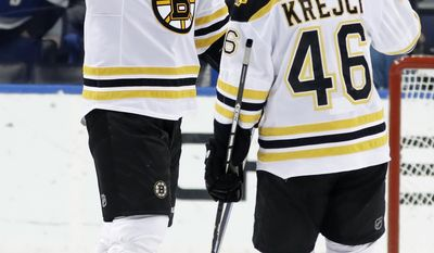 Boston Bruins right wing Jimmy Hayes, left, celebrates with center David Krejci, of the Czech Republic, after the Bruins defeated the Tampa Bay Lightning 4-3 during an NHL hockey game Tuesday, Jan. 31, 2017, in Tampa, Fla. (AP Photo/Chris O'Meara)