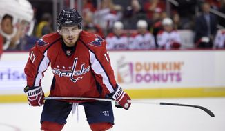 This Sept. 26, 2016 photo shows Washington Capitals forward Chris Bourque (17) looking on during the first period of an NHL preseason hockey game against the Carolina Hurricanes in Washington. Bourque is finally appreciating his AHL greatness after failed NHL and European ventures. The eldest son of Hockey Hall of Famer Ray Bourque is one of the best players in American Hockey League history but hasn't given up on his NHL dream at age 31. (AP Photo/Nick Wass)