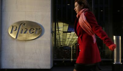 FILE - In this Monday, Nov. 23, 2015, file photo, a woman passes Pfizer's world headquarters, in New York. Pfizer Inc. (PFE) on Tuesday, Jan. 31, 2017, reported fourth-quarter net income of $775 million, after reporting a loss in the same period a year earlier. (AP Photo/Mark Lennihan, File)