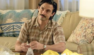"This image released by NBC shows Milo Ventimiglia in a scene from the series, ""This Is Us."" (Ron Batzdorff/NBC via AP)"