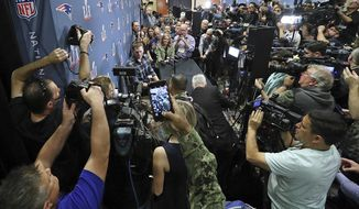 New England Patriots quarterback Tom Brady talks to the media during a news conference for the NFL Super Bowl 51 football game against the Atlanta Falcons. Tuesday, Jan. 31, 2017, in Houston. (Curtis Compton/Atlanta Journal-Constitution via AP)