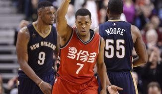 Toronto Raptors guard Kyle Lowry (7) reacts after hitting a 3-pointer during overtime against the New Orleans Pelicans in an NBA basketball game Tuesday, Jan. 31, 2017, in Toronto. (Nathan Denette/The Canadian Press via AP)