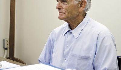 FILE - In this Oct. 4, 2012 file photo, Bruce Davis waits for the start of a parole hearing at the California Mens Colony in San Luis Obispo, Calif. A state panel on Wednesday, Feb. 1, 2017 recommended parole for Davis, 74, a former follower of cult leader Charles Manson, after California governors blocked four previous recommendations for his release. Gov. Jerry Brown will have the final say on whether Davis is released. (Joe Johnston/The Tribune of San Luis Obispo via AP, File)