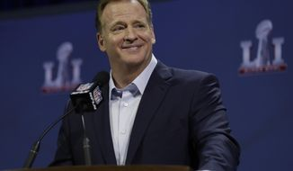 NFL Commissioner Roger Goodell answers questions during a news conference during preparations for the NFL Super Bowl 51 football game Wednesday, Feb. 1, 2017, in Houston. (AP Photo/David J. Phillip)