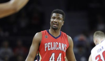 New Orleans Pelicans forward Solomon Hill (44) disputes a call by referee Rodney Mott, left, during the first half of an NBA basketball game against the Detroit Pistons, Wednesday, Feb. 1, 2017, in Auburn Hills, Mich. (AP Photo/Carlos Osorio)