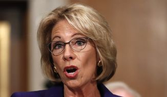 In this Jan. 17, 2017, file photo, Education Secretary-designate Betsy DeVos testifies on Capitol Hill in Washington at her confirmation hearing before the Senate Health, Education, Labor and Pensions Committee. (AP Photo/Carolyn Kaster, File)