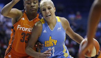 FILE - In this July 22, 2016, file photo, Chicago Sky forward Elena Delle Donne, right, drives as Connecticut Sun forward Morgan Tuck defends during a WNBA basketball game in Rosemont, Ill. The Washington Mystics have acquired Elena Delle Donne from the Chicago Sky on Thursday, Feb. 2, 2017, for Stefanie Dolson, Kahleah Copper and the No. 2 pick in this year's draft. (AP Photo/Nam Y. Huh, File)