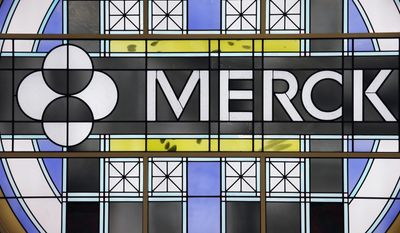 FILE - This Thursday, Dec. 18, 2014, file photo shows the Merck logo on a stained glass panel at a Merck company building in Kenilworth, N.J. Merck & Co. reports financial results Thursday, Feb. 2, 2017. (AP Photo/Mel Evans, File)