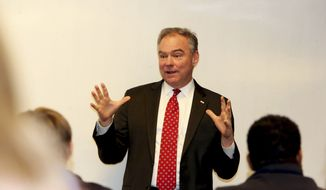 Sen. Tim Kaine, D-Va., speaks at the Jefferson College of Health Sciences at the Carilion Clinic on Monday, Jan. 30, 2017, in Roanoke, Va. (Stephanie Klein-Davis/The Roanoke Times via AP)