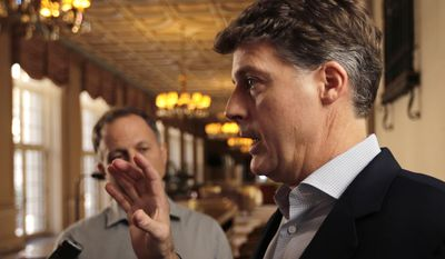 New York Yankees owner Hal Steinbrenner talks with reporters following a meeting with Major League Baseball owners, Thursday, Feb. 2, 2017, in Palm Beach, Fla. (AP Photo/Lynne Sladky)