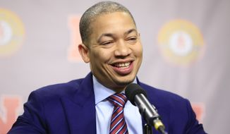 Cleveland Cavaliers coach Tyronn Lue speaks to reporters before a ceremony to have his jersey retired, in Lincoln, Neb., Thursday, Feb. 2, 2017. Lue played for Nebraska from 1995 to 1998 and was a two-time All-Big 12 selection. (AP Photo/Nati Harnik)
