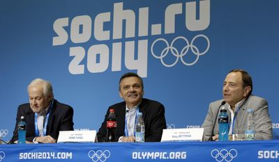 FILE - In this Feb. 18, 2014, file photo, NHL Players' Association Executive Director Don Fehr, left, International Ice Hockey Federation President Rene Fasel, center, and NHL Commissioner Gary Bettman, right, answer questions during a news conference at the 2014 Winter Olympics in Sochi, Russia. Two people familiar with the gathering say the three key decision-makers are meeting Friday, Feb. 3, 2017,  regarding the NHL's participation in the 2018 Olympics in South Korea. The person, who spoke Thursday, Feb. 2, 2017,  to The Associated Press on condition of anonymity because an announcement was not made about the development, says the IOC and IIHF requested the meeting. (AP Photo/Mark Humphrey, File)
