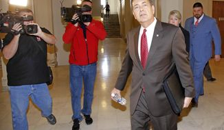 State Rep. Dan Kirby, accused of sexually harassing two former legislative assistants, arrives to testify before a special House committee that is investigating sexual harassment accusations against him at the State Capitol in Oklahoma City, Friday, Jan. 27 2017. (Steve Gooch/The Oklahoman via AP)