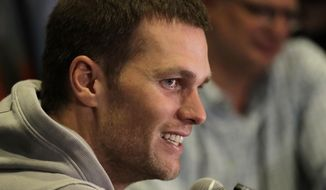 New England Patriots quarterback Tom Brady does an interview during a media availability for the NFL Super Bowl 51 football game Wednesday, Feb. 1, 2017, in Houston. The Patriots will face the Atlanta Falcons in the Super Bowl Sunday. (AP Photo/Charlie Riedel)