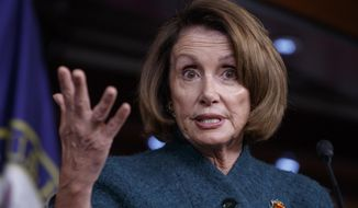 House Minority Leader Nancy Pelosi of Calif. responds to questions about President Donald Trump's actions and agenda, Thursday, Feb. 2, 2017, during a news conference on Capitol Hill in Washington. (AP Photo/J. Scott Applewhite)