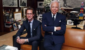 FILE - In this Sept. 29, 2015 file photo, designer Ralph Lauren, right, poses in his office with Stefan Larsson in New York. Larsson, CEO of Ralph Lauren Corp., will be stepping down from the post in May 2017, less than two years after taking over the role. Founder Ralph Lauren says he and Larson had different views on how to run parts of the business. Shares plunged 10 percent in Thursday, Feb. 2, 2017 premarket trading. (AP Photo/Jason DeCrow)