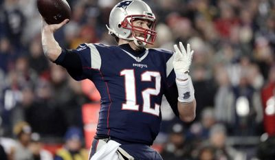 FILE- In this Sunday, Jan. 22, 2017, file photo, New England Patriots quarterback Tom Brady throws a touchdown pass to wide receiver Julian Edelman during the second half of the AFC championship NFL football game against the Pittsburgh Steelers in Foxborough, Mass. The Atlanta Falcons and Patriots certainly are seeking the NFL crown on Sunday in Super Bowl 51.(AP Photo/Matt Slocum, File)