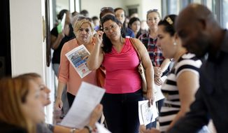 Reina Borges, left, stands in line to apply for a job with Aldi at a job fair in Miami Lakes, Fla., in this Tuesday, July 19, 2016, file photo. (AP Photo/Lynne Sladky, File)