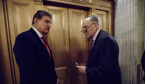 Sen. Joe Manchin, D-W.Va., left, and Senate Minority Leader Charles Schumer of N.Y., depart Capitol Hill in Washington, Friday, Feb. 3, 2017, after lawmakers gathered for a predawn vote to advance the nomination of Education Secretary-designate Betsy DeVos. (AP Photo/J. Scott Applewhite) **FILE**
