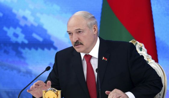 """Belarus's President Alexander Lukashenko speaks during a briefing in Minsk, Belarus, Friday, Feb. 3, 2017.  In a televised broadcast on Friday, Lukashenko asked the country's interior minister to press charges against Russia's top food safety official, alleging charges of """"damaging the state"""" because Russia stopped the import of Belarusian products due to quality issues and suspicions that Belarus resells EU-made dairy products that are banned in Russia.  The Kremlin responded to the outburst, listing the loans and reduced taxes that Russia gave to Belarus.  (Maxim Guchek/BelTA Pool Photo via AP) **FILE**"""