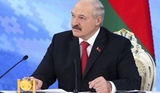 "Belarus's President Alexander Lukashenko speaks during a briefing in Minsk, Belarus, Friday, Feb. 3, 2017.  In a televised broadcast on Friday, Lukashenko asked the country's interior minister to press charges against Russia's top food safety official, alleging charges of ""damaging the state"" because Russia stopped the import of Belarusian products due to quality issues and suspicions that Belarus resells EU-made dairy products that are banned in Russia.  The Kremlin responded to the outburst, listing the loans and reduced taxes Russia gave to Belarus. (Maxim Guchek/BelTA Pool Photo via AP)"
