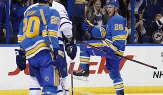 St. Louis Blues' Paul Stastny (26) celebrates after scoring against the Toronto Maple Leafs the second period of an NHL hockey game Thursday, Feb. 2, 2017, in St. Louis. (AP Photo/Jeff Roberson)