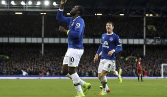 Everton's Romelu Lukaku celebrates scoring his sides's fifth and his forth goal of game during their English Premier League soccer match against Bournemouth at Goodison Park, Liverpool, England, Saturday, Feb. 4 ,2017. (Martin Rickett/PA via AP)