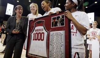 Stanford coach Tara VanDerveer, left, celebrates with her players, including Karlie Samuelson, second from left, Erica McCall, center, and Briana Roberson, after her 1,000th career win, in an NCAA college basketball game against Southern California on Friday, Feb. 3, 2017, in Stanford, Calif. (AP Photo/Marcio Jose Sanchez)