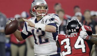New England Patriots' Tom Brady prepares to pass against the Atlanta Falcons during the second half of the NFL Super Bowl 51 football game Sunday, Feb. 5, 2017, in Houston. (AP Photo/Eric Gay)