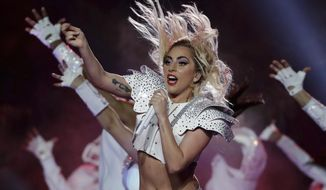 Singer Lady Gaga performs during the halftime show of the NFL Super Bowl 51 football game between the New England Patriots and the Atlanta Falcons, Sunday, Feb. 5, 2017, in Houston. (AP Photo/Matt Slocum)