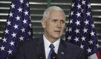 Vice President Mike Pence speaks at Congress Hall in Philadelphia on Saturday, Feb. 4, 2017, on the Constitution, role of the judiciary and the Supreme Court nomination of Neil Gorsuch. The event was hosted by the Federalist Society, a conservative legal group. (David Swanson/The Philadelphia Inquirer via AP, Pool) ** FILE **