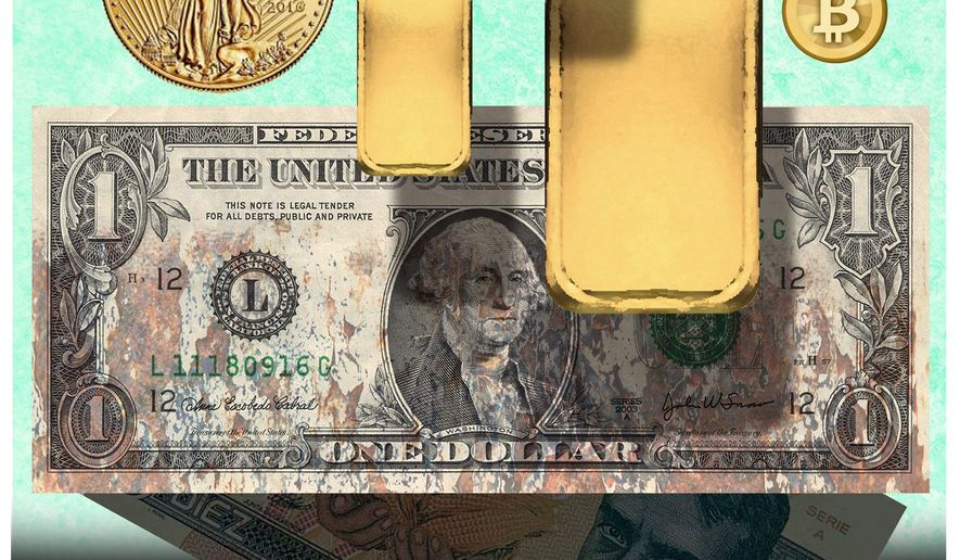 Illustration on the value of the dollar and its alternatives by Alexander Hunter/The Washington Times