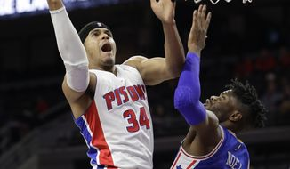 Detroit Pistons forward Tobias Harris (34) makes a layup on Philadelphia 76ers forward Nerlens Noel (4) during the first half of an NBA basketball game, Monday, Feb. 6, 2017, in Auburn Hills, Mich. (AP Photo/Carlos Osorio)