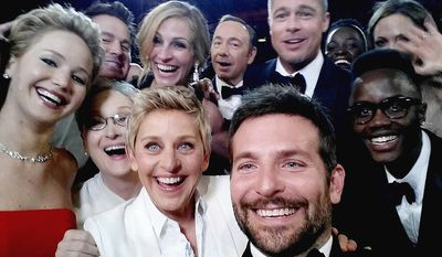 The Oscars Selfie   Kevin Spacey, Angelina Jolie, Julia Roberts, Brad Pitt, Jennifer Lawrence, Ellen Degeneres and Jared Leto join other celebrities for a group selfie during the Oscars at the Dolby Theatre in Los Angeles