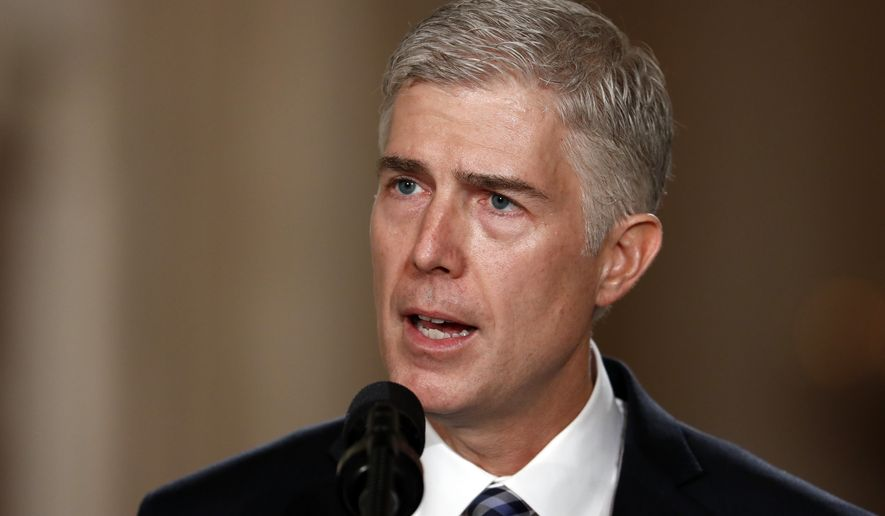 Supreme Court Justice nominee Neil Gorsuch speaks in the East Room of the White House in Washington, in this Jan. 31, 2017, file photo. (AP Photo/Carolyn Kaster, File)