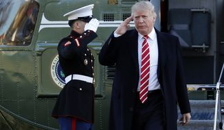 President Donald Trump salutes a Marines honor guard as he disembarks from Marine One upon arrival at the White House in Washington, Monday, Feb. 6, 2017, from a trip to Florida. (AP Photo/Manuel Balce Ceneta)