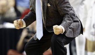 North Carolina head coach Roy Williams reacts during the second half of an NCAA college basketball game against Notre Dame in Greensboro, N.C., Sunday, Feb. 5, 2017. (AP Photo/Gerry Broome)