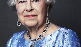 This photo by English photographer David Bailey of Britain's Queen Elizabeth II, taken for the GREAT campaign in 2014, and is now reissued Monday Feb. 6, 2017, by Buckingham Palace to celebrate her Sapphire Anniversary, marking the 65th anniversary of the monarch's accession to the throne. In the photo, the Queen is wearing a suite of sapphire jewellery originally given to her by her father King George VI as a wedding gift in 1947. (David Bailey via AP) MANDATORY CREDIT - NO USE AFTER TUESDAY FEBRUARY 7, 2017.