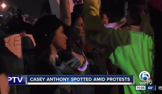 Casey Anthony was spotted at an anti-Donald Trump protest Saturday night outside the president's Mar-a-Lago estate in Palm Beach, Florida. (WPTV)