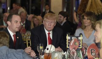 President Donald Trump, center, first lady Melania Trump, second from right, and White House Chief of Staff Reince Priebus attend a Super Bowl party at Trump International Golf Club in West Palm Beach, Fla., Sunday, Feb. 5, 2017. (AP Photo/Susan Walsh)