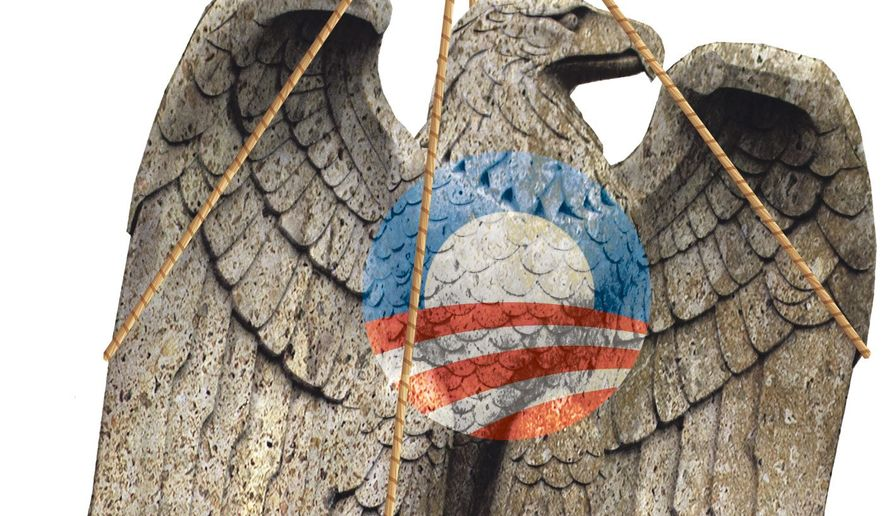 Illustration on the restoration of religious freedom in the U.S. after Obama by Alexander Hunter/The Washington Times