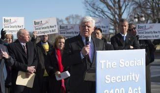 Rep. John Larson, Connecticut Democrat, speaks during a news conference on Capitol Hill in Washington on March 18, 2015, to announcing the introduction of the Social Security 2100 Act. (Associated Press) **FILE**