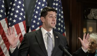 House Speaker Paul Ryan of Wis. meets with reporters on Capitol Hill in Washington, Tuesday, Feb. 7, 2017, following GOP strategy session at the Republican National Committee offices.  (AP Photo/J. Scott Applewhite)