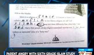 Students at Alston Middle School in Summerville, South Carolina, were given a worksheet that required them to learn the five pillars of Islam. (CBS-5 South Carolina screenshot)