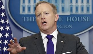 White House press secretary Sean Spicer speaks during the daily news briefing at the White House in Washington, Tuesday, Feb. 7, 2017. Spicer discussed President Donald Trump's travel ban and other topics. (AP Photo/Carolyn Kaster)