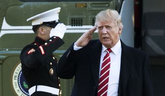 U.S. President Donald Trump salutes a Marines honor guard as he disembarks from Marine One upon arrival at the White House in Washington in this Monday, Feb. 6, 2017, file photo. (AP Photo/Manuel Balce Ceneta, File)